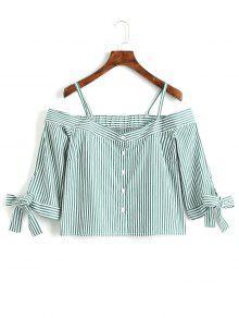 Stripes Button Up Blusa De Ombro Frio - Listras Xs