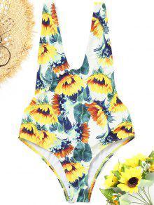 فتح العودة سونفلور قطعة واحدة ملابس السباحة - الأزهار S