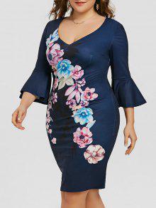 Plus Size Flare Sleeve Vestido Floral Com Lápis - Azul Escuro 5xl
