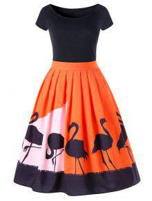 قصيرة الأكمام غروس جابوننسيس طباعة مضيئة اللباس - أحمر برتقالي 2xl