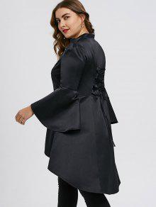 2b156ced6710a 27% OFF  2019 Plus Size Lace Up High Low Skirted Coat In BLACK 4XL ...