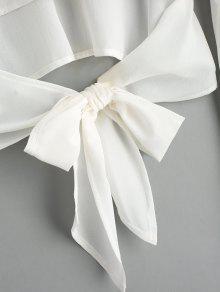 Blanco M Cremallera Posterior En Con Cremallera Con La Bowknot Parte Blusa Flare gRwvqnP