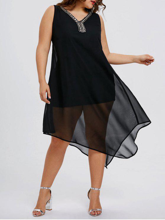 زائد حجم الديكور مزين فستان غير متناظرة - أسود 2XL
