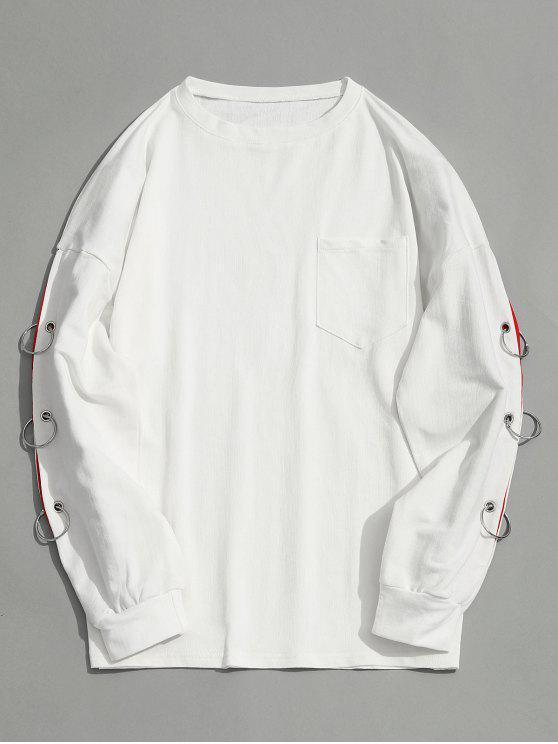 buy Drop Shoulder Pocket Iron Ring Sweatshirt - WHITE M