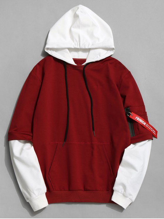 b889b8b7d 35% OFF] 2019 Cotton Two Tone Hoodie In DARK RED | ZAFUL New Zealand