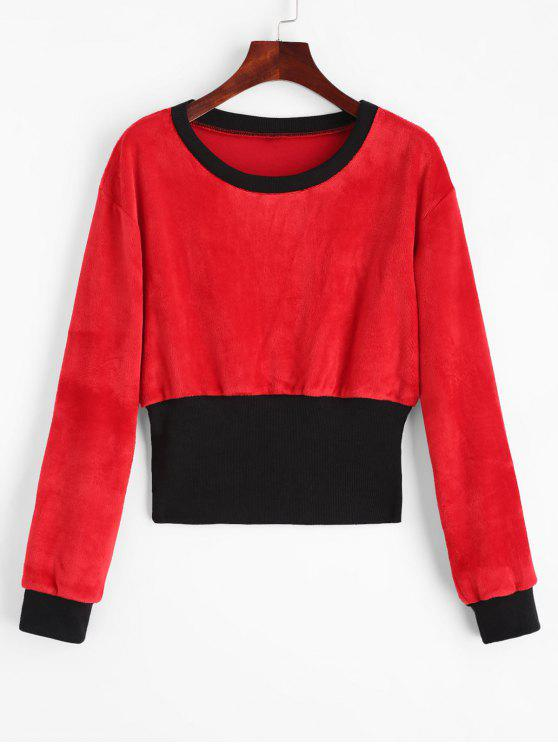 new Crew Neck Contrast Velvet Sweatshirt - RED WITH BLACK L