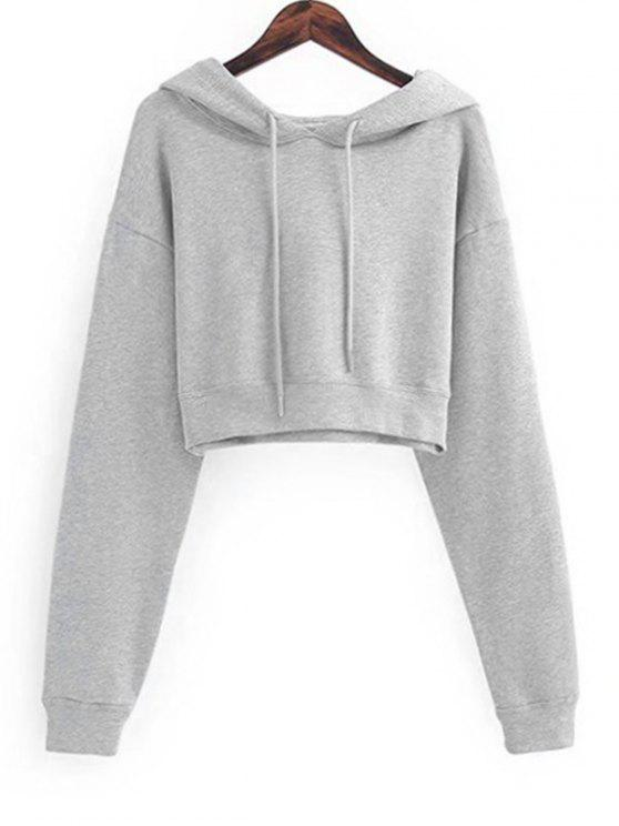 c76401fc163 36% OFF  2019 Drawstring Cropped Plain Hoodie In LIGHT GRAY