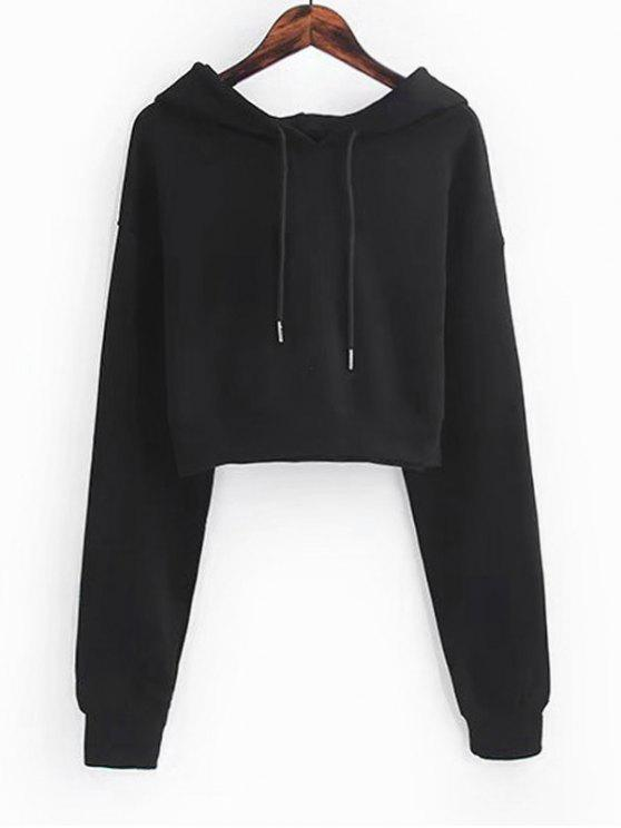 7efaefd00dfd3 30% OFF  2019 Drawstring Cropped Plain Hoodie In BLACK