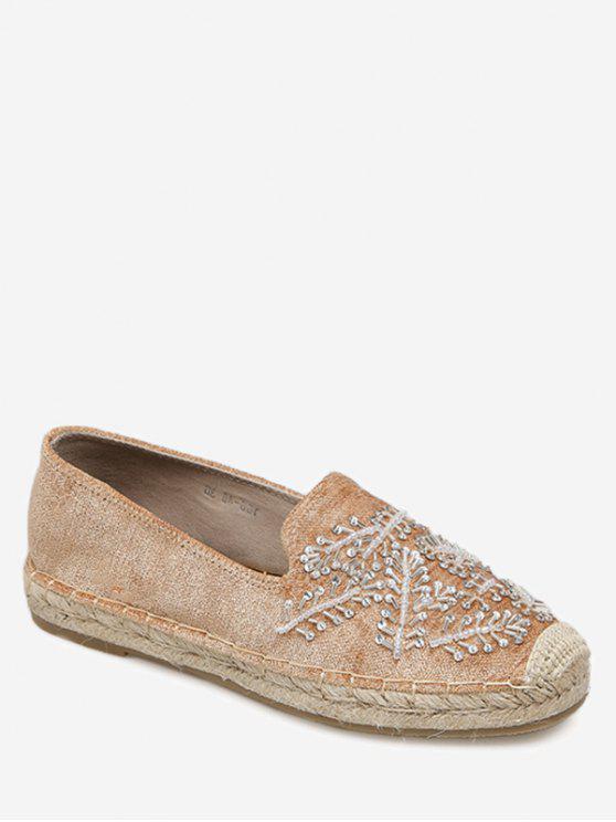 حذاء فلات ذو مقدمة مستديرة مزين بالخرز - البني الفاتح 40