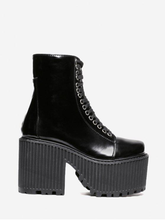 Lace Up Platform Short Boots - Preto 37