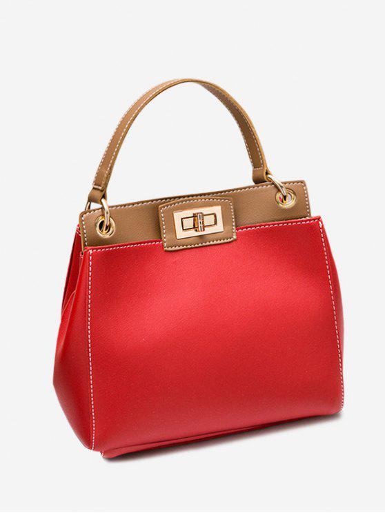 Twist Lock Color Block PU Leather Handbag - Vermelho