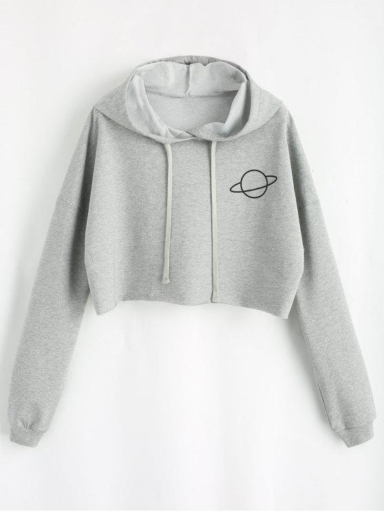 e6b734f8b458f 31% OFF  2019 Planet Graphic Crop Hoodie In GRAY