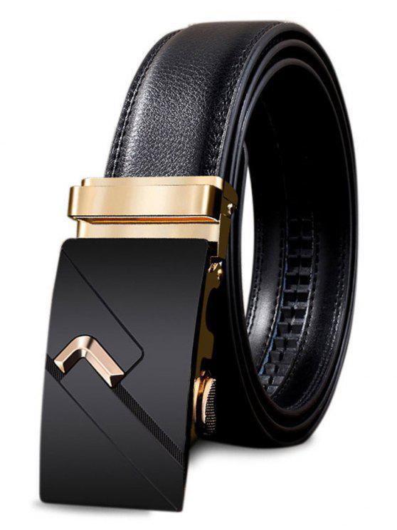 Cintura con Fibbia Automatica in Metallo con Fibbia Decorata - Oro 110CM