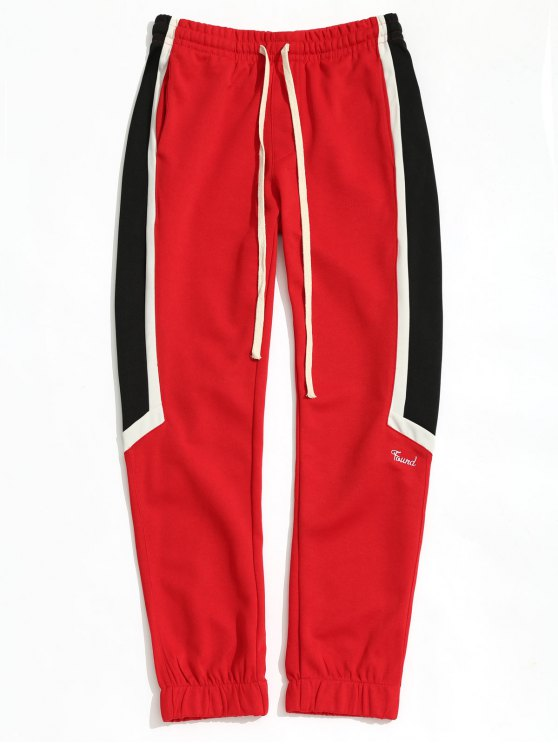 fashion Color Block Drawstring Sports Pants - RED L