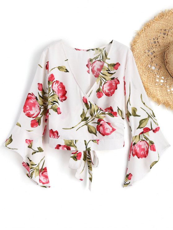 fashion Bell Sleeve Floral Surplice Top - WHITE M