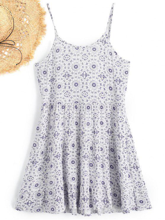 hot Cami Printed Beach Dress - WHITE M