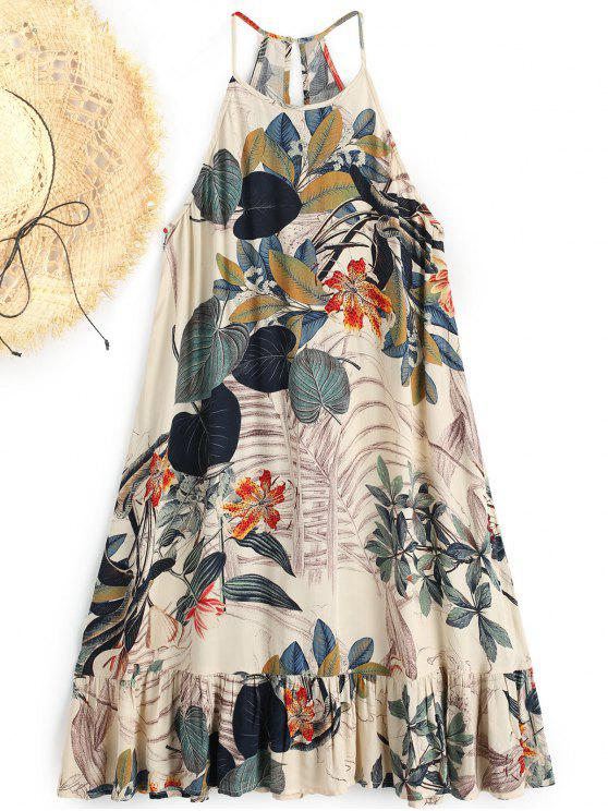 outfits Leaf Print Trapeze Ruffles Beach Dress - FLORAL L