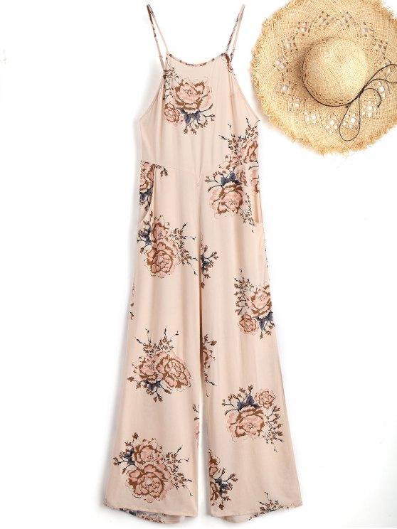 shop Cami Floral Beach Jumpsuit - APRICOT L