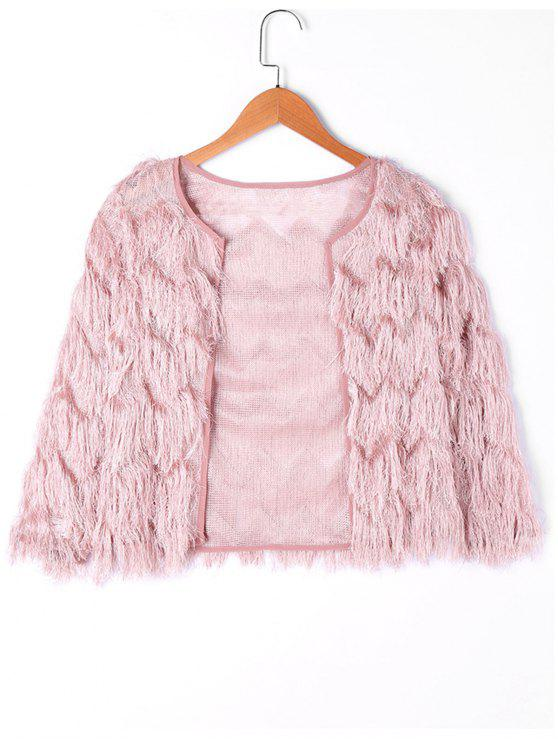 women Fringed Short Jacket - SHALLOW PINK L