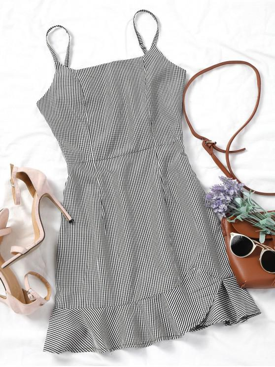 online Back Zip Checked Ruffles Mini Dress - BLACK M