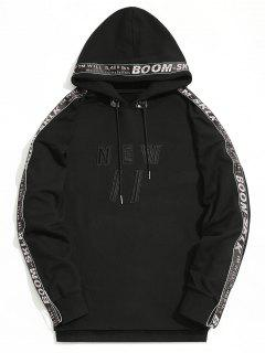 Braid Letter Embroidered Hoodie - Black M