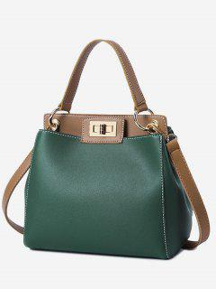 Twist Lock Color Block PU Leather Handbag - Green