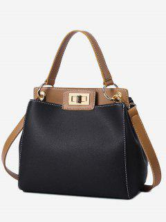 Twist Lock Color Block PU Leather Handbag - Black