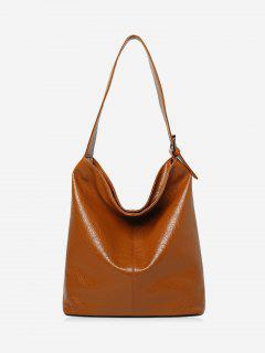Buckled Faux Leather Shoulder Bag - Brown