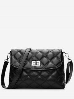 Stitching Quilted Twist Lock Crossbody Bag - Black