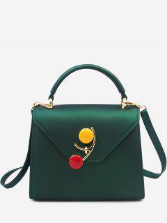 Contrasting Color Flap Handbag - Green