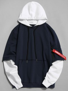 Cotton Two Tone Hoodie - Cadetblue Xl