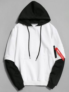 Cotton Two Tone Hoodie - White Xl
