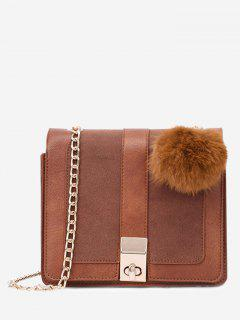 Twist Lock Pompom Chain Crossbody Bag - Brown