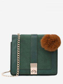 Twist Lock Pompom Chain Crossbody Bag - Green