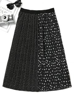 Polka Dot Contrast Pleated Skirt - Black M