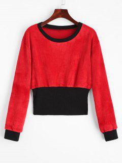 Crew Neck Contrast Velvet Sweatshirt - Red With Black S