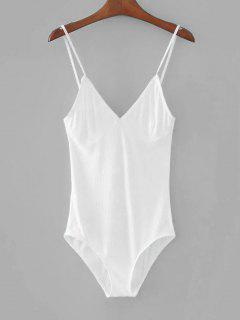 Knitted Skinny Bralette Top Bodysuit - White