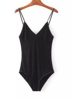 Knitted Skinny Bralette Top Bodysuit - Black