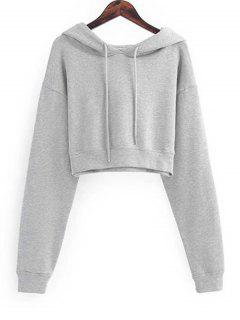 Drawstring Cropped Plain Hoodie - Light Gray S