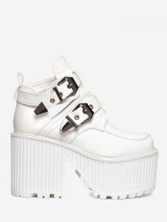Cut Out Platform Buckle Strap Boots - White 39