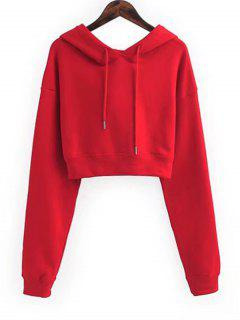 Drawstring Cropped Plain Hoodie - Red S