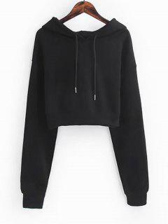 Drawstring Cropped Plain Hoodie - Black S