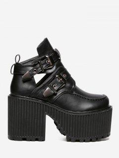Cut Out Platform Buckle Strap Boots - Black 36