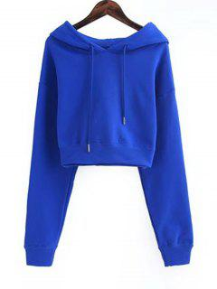 Drawstring Cropped Plain Hoodie - Blue S