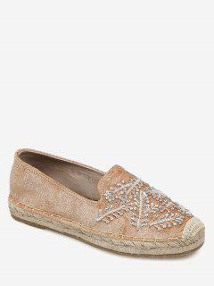 Beaded Round Toe Espadrille Flats - Light Brown 40
