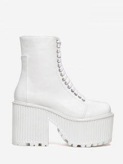 Lace Up Platform Short Boots - White 36