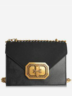 Chain Metal Embellishment Crossbody Bag - Black Horizontal