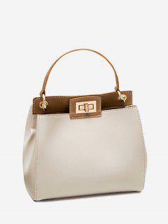 Twist Lock Color Block PU Leather Handbag - Off-white