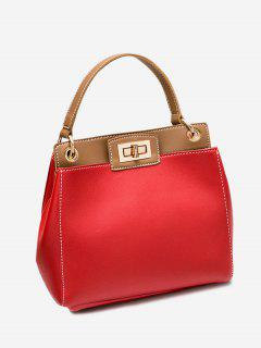 Twist Lock Color Block PU Leather Handbag - Red