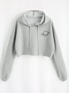 Planet Graphic Crop Hoodie - Gray Xl